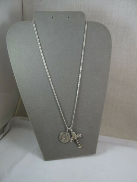 Crucifix amp; Mother Mary Saint Charm Sterling Silver Gucci Chain 925 Necklace 26quot; $59.99