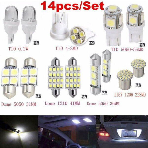 14x Car Interior Package Map Dome License Plate Mixed LED Light Accessories Kits $4.38