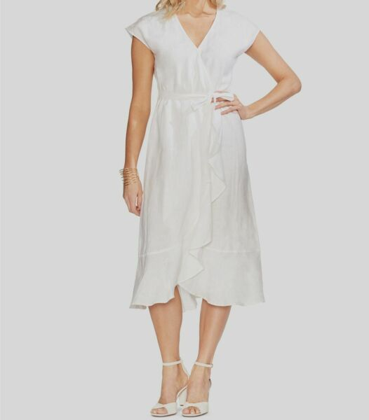 $349 Vince Camuto Women#x27;s White V Neck Faux Wrap Linen Fit Flare Dress Size M $52.46