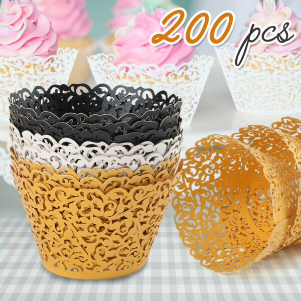 200Pcs Lace Cupcake Wrapper Liners Muffin Tulip Case Cake Paper Baking Cup Party