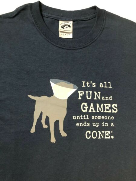 Dog Is Good Its All Fun and Games End Up In A Cone Country Blue T Shirt Sz. M $14.99