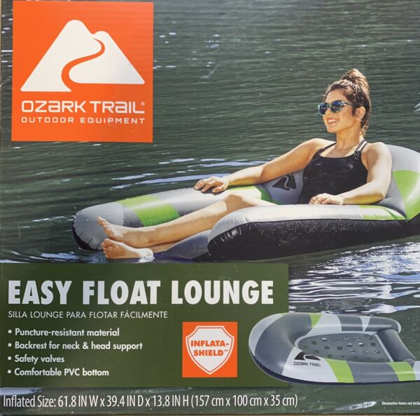 Easy Float Lounge Swimming Pool Inflatable Raft Chair Ozark Trail Outdoor $24.95