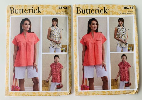 New Butterick Misses Pullover TOPS Pattern B6768 PICK 6-14 OR 14-22 - SHIPS FREE
