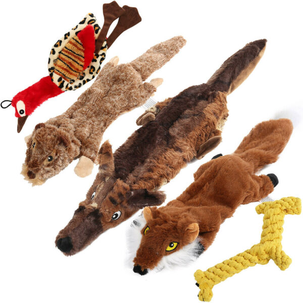 5Pc Dog Squeaky Toys Durable Plush Toy for Puppy Large Small Dogs Pets Squeaker $15.98