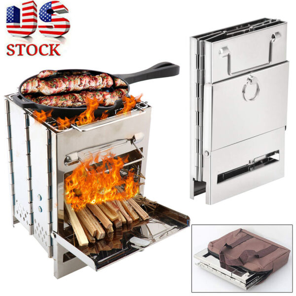 Folding Stainless Steel Wood Burning Stove Outdoor Camping Picnic BBQ Portable $21.66
