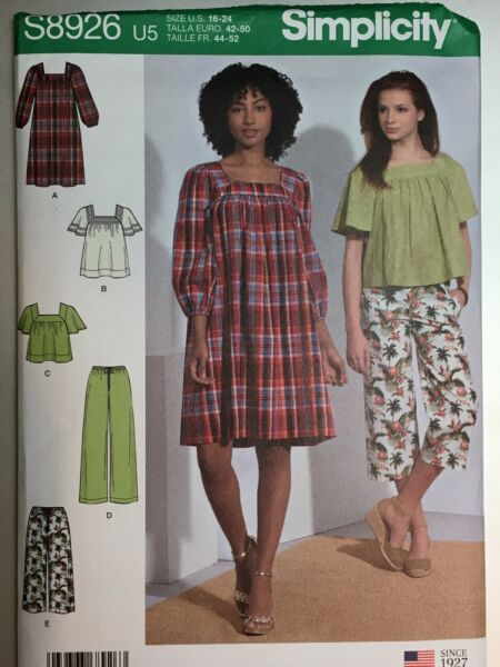 Simplicity 8926 Sewing Pattern Misses 6-24 Dress Top Pull-on Pant 2 lengths