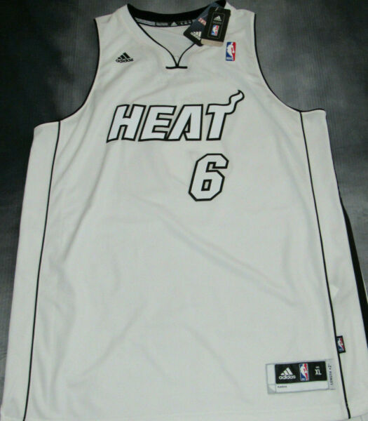 100% Authentic Adidas Heat Lebron James White Hot Jersey 2012/13 New SZ XL