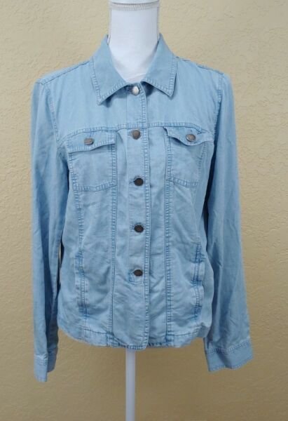 Villager Liz Claiborne Womens Top Sz 12 Chambray Long Sleeve Button Front Large $13.20