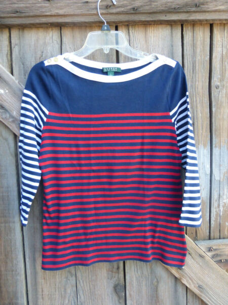 Ralph Lauren Size Large Boat Neck Nautical Top Red White & Blue Striped $12.99