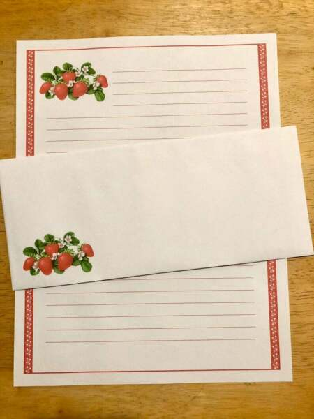 Strawberries Stationery 12 Sheets 6 Envelopes Lined Stationary $12.00