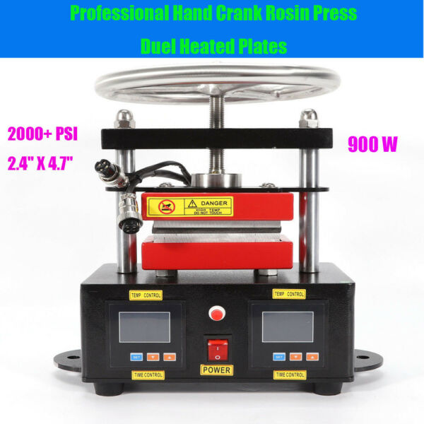 900W Professional Rosin Press Machine Hand Crank Duel Heated Plates 2.4