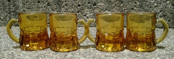 Vintage Set of 4 Federal Mini Yellow Amber Beer Mug Stein Shot Glass Toothpick