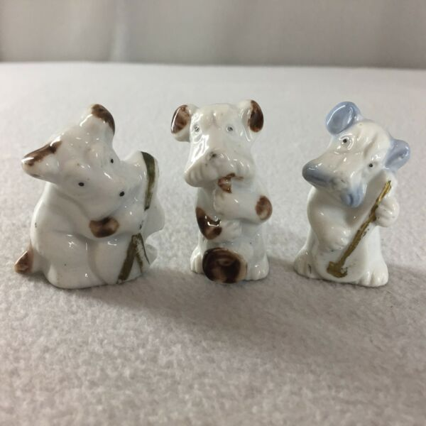 Vintage Miniature Ceramic Dogs Playing Instruments Figurines 2quot; Set of 3 Japan $21.98