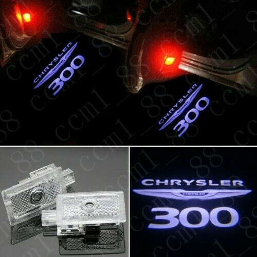 2x Color LED Door Ghost Logo Projector Puddle Light For Chrysler 300 2005-20