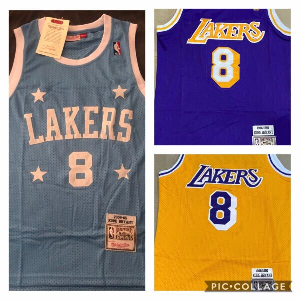 NWT Men's Kobe Bryant Jersey Los Angeles Lakers Blue # 8 Purple and yellow # 8