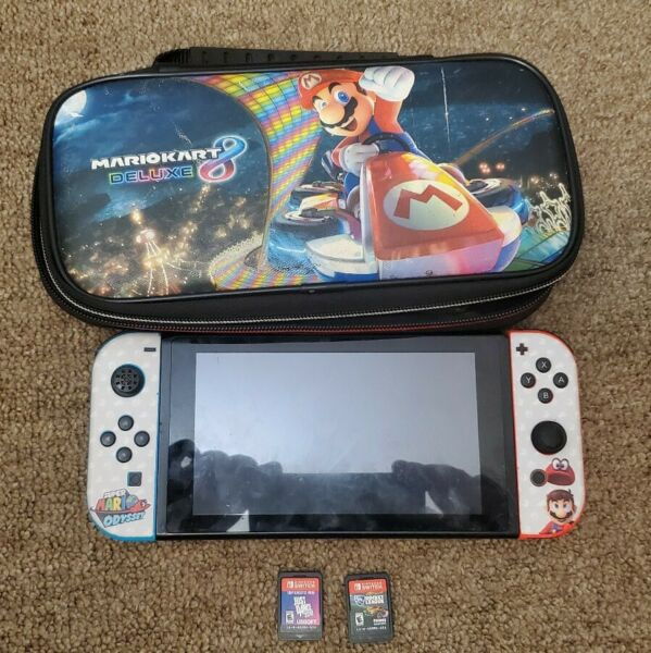 Nintendo Switch Console Neon Red and Neon Blue Joy-Cons wCase + 2 games *read*