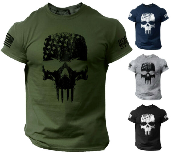 Skull T Shirt USA Warrior Flag Distressed Military