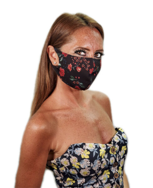 Flowers Print Face Mask Made In USA Light FabricBreathableWashableReusable