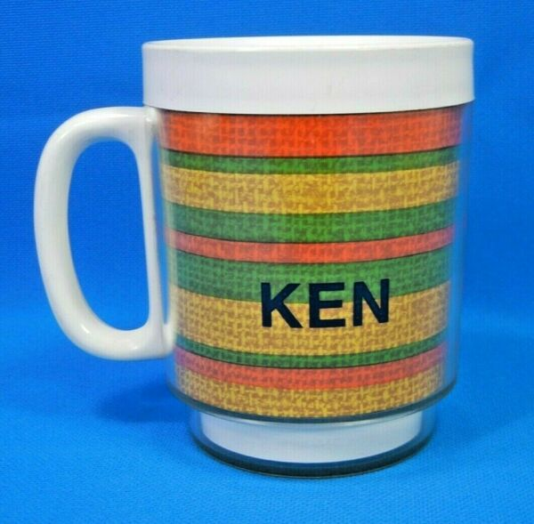 Vintage 1973 Ken#x27;s Thermo Serv Insulated Coffee Cup Mug Colored Burlap Print