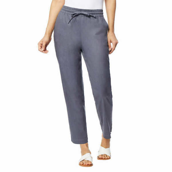 New 32 Degrees Cool Women#x27;s Pants Drawstring Stretch Pockets Linen Blend 7 $14.85