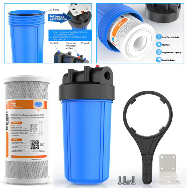 10quot; x 4.5quot; Whole House Big Blue Water Filter Housing Kit amp; Carbon Block Filter