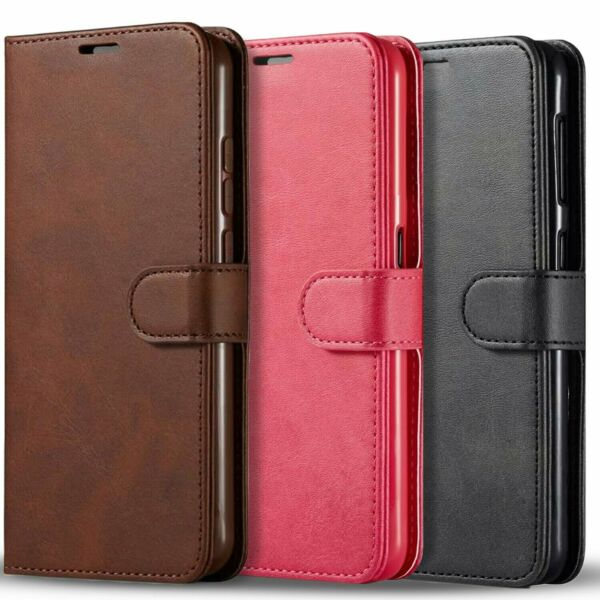 For Samsung Galaxy A11 Case Premium Leather Wallet Tempered Glass Protector
