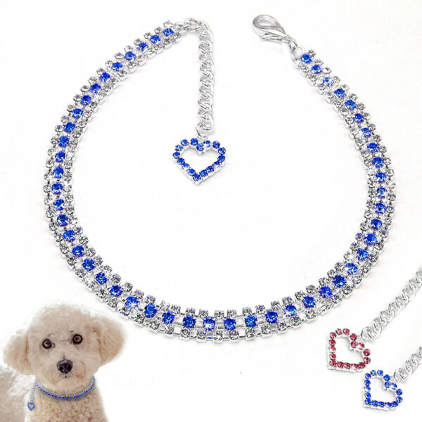 Bling Rhinestone Pet Dog Necklaces Heart Pendant Dog Cat Collars for Small Dogs $8.99