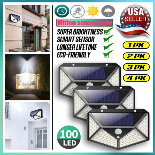Outdoor 100 LED Solar Wall Lights Security Motion Garden Yard Path Flood Lamp $26.99