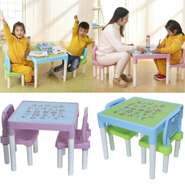 Kids Table And 2 Chairs Set For Toddler Baby Study/Play Desk Furniture 2 Colors