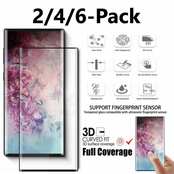 Samsung Galaxy S10 PlusNote 10+S10e Full Cover Tempered Glass Screen Protector $8.95