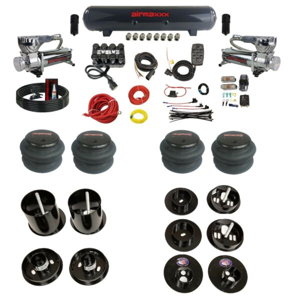 Complete Bolt On Air Ride Suspension Kit w/Manifold & 580 Chr For 65-70 Cadillac