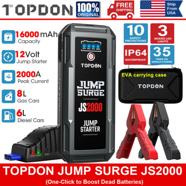 Portable V2000 Battery Booster Pack Charger Power Jump Starter Box Heavy Duty $93.79