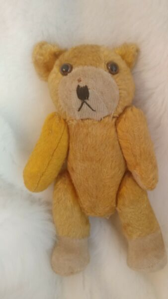 Vintage Teddy Bear Japan Squeeks Jointed Straw Filled 8