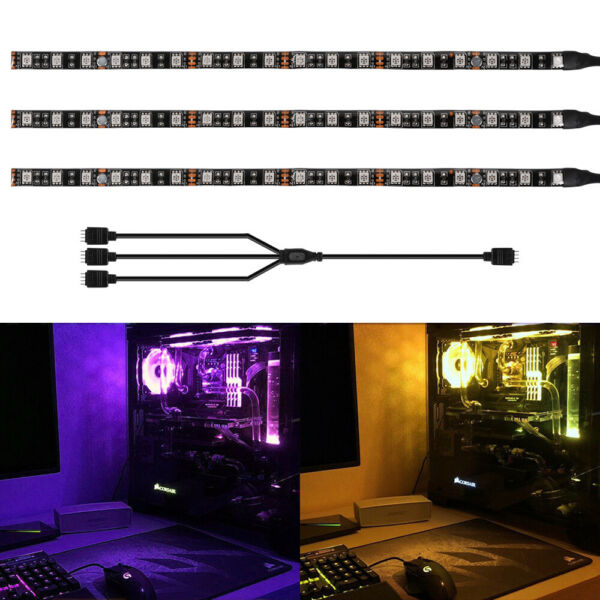 2 3PCS RGB Gaming LED Strip Lights with Magnet Mid Tower PC Case for Aura Sync