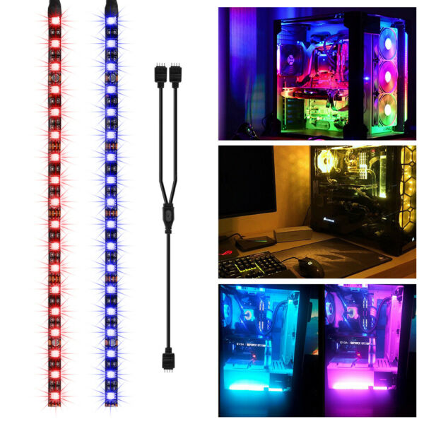 2x RGB Gaming LED PC Case Strip Light DIY Kit with Magnet for Aura Sync LD1969