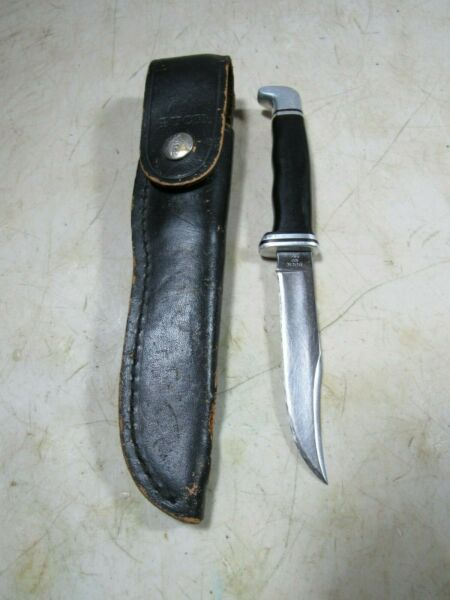 Vintage 1970#x27;s Pre Date Code Buck Fixed Blade Hunting Knife 102 W Sheath