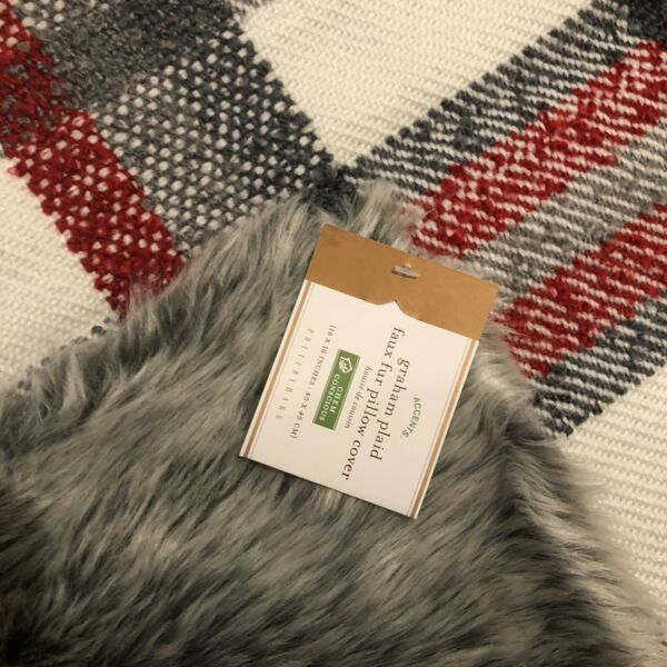 "Pottery Barn Gray Red Graham Plaid Faux Fur Back 18"" Pillow Cover NEW Christmas $32.00"