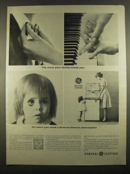 1964 General Electric Mobile Maid SM500Y Dishwasher Ad $16.99