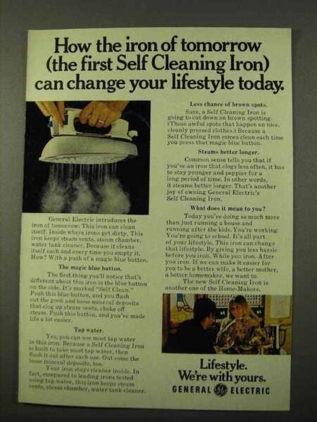 1972 General Electric Self Cleaning Iron Ad Iron of Tomorrow