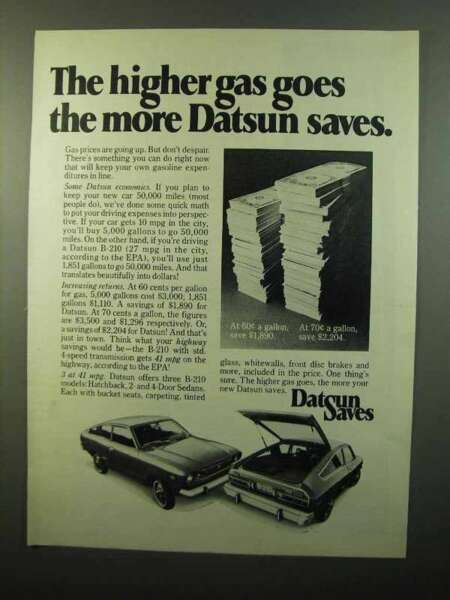 1975 Datsun B 210 Car Ad The Higher Gas Goes $16.99