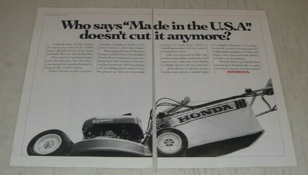 1991 Honda Lawn Mowers Ad Who says Made in the U.S.A. doesn#x27;t cut it anymore