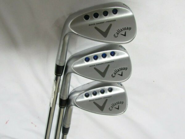 Used LH Callaway Mack Daddy Forged 52* 56* 60* Wedge Set - Tour Issue S200 Stiff