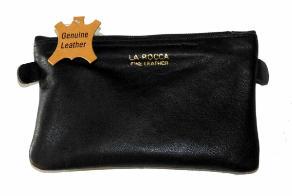 LaRocca Black Leather Lightweight Zip Top Pipe Tobacco Daily Tobacco Pouch