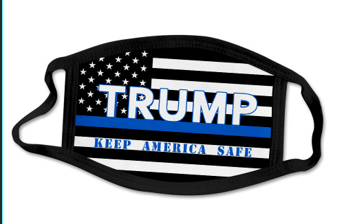 Trump Police Blue Line Flag Face Covering Mask Keep America Safe NEW Washable $5.95