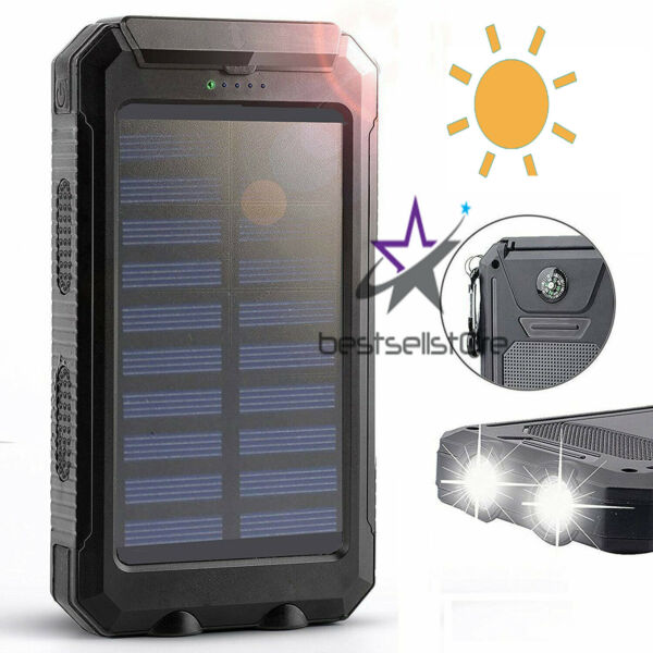 2020 Waterproof Solar Power Bank 900000mAh Portable External Battery Charger US
