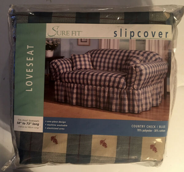 "Surefit Slipcover Loveseat Country Check Blue 58"" 73"" Long New NIP Farmhouse $69.95"