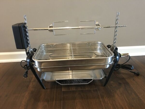 Vintage Farberware Open Hearth Rotisserie Indoor Grill Broiler 455ND