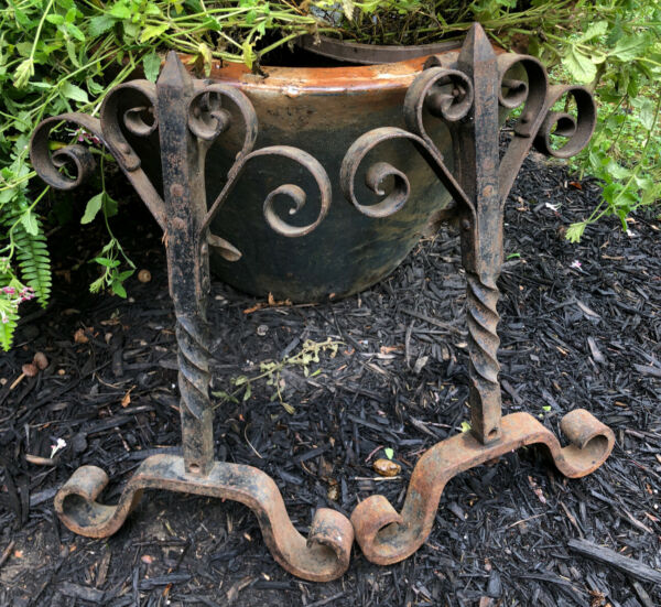 Antique Hand Wrought Iron Fireplace Andirons Hearth Scroll Heart Legs Set of Two