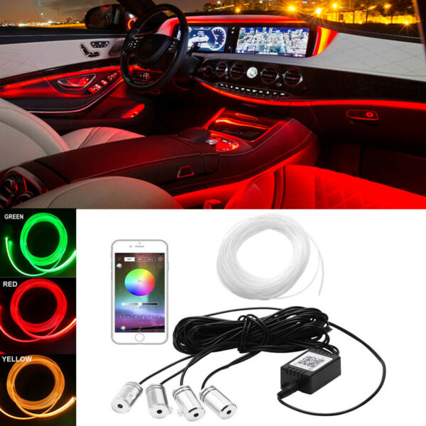 4x Car Interior Atmosphere Light 6M Neon Strips APP Bluetooth Controller RGB LED