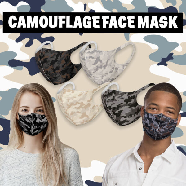 Camo 4 Pack! 3D Face Mask Fashion Reusable Washable Cover Breathable Protection $11.99